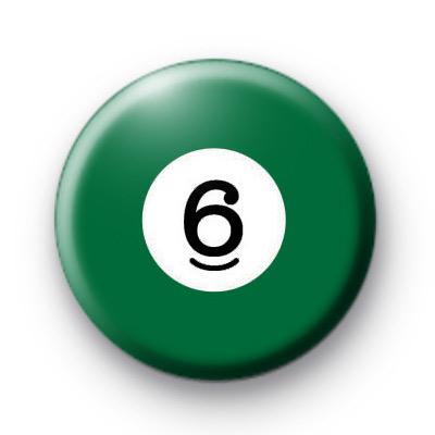 Billiard Ball Birthday Age Number 6 Badge