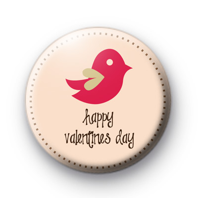 Pink Birds Happy Valentines Day Badge