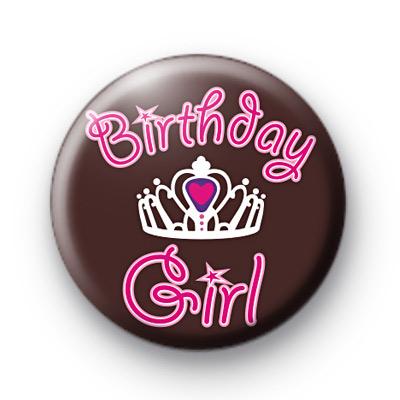 Birthday Girl Crown Button Badges