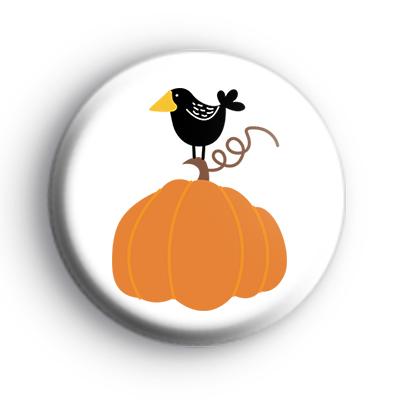 Black Bird Autumnal Pumpkin Badge