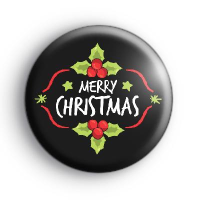 Black Merry Christmas Holly Badge
