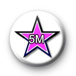 Black and pink star 5M badge