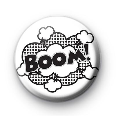 Black and White Cartoon BOOM badge
