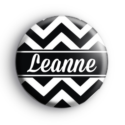 Black and White Chevron Custom Name Badge