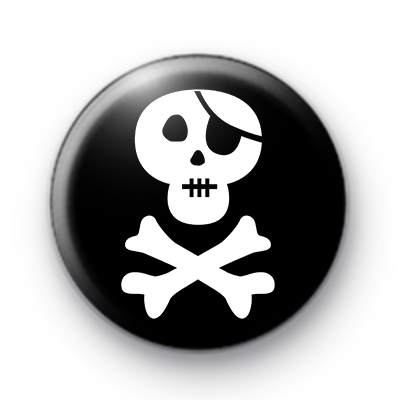Black and White Pirate Skull Badge