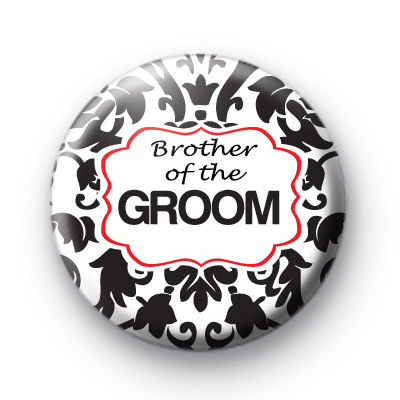 Black and red brother of the groom badge
