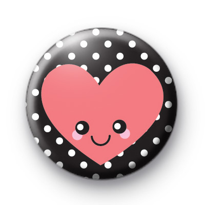 Black and Pink Happy Smiley Heart Badge