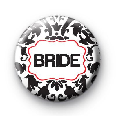 Black and Red Bride Wedding Badges
