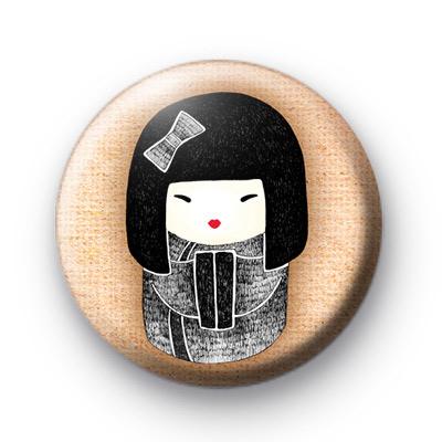 Black and White Geisha Girl Badge