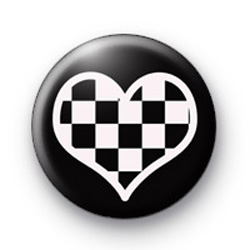 Black and White Love Heart badges