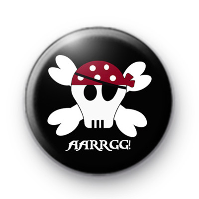 Black Pirate Skull Badge Arrrgghhh