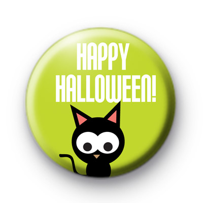 Black Kitty Happy Halloween Button badge