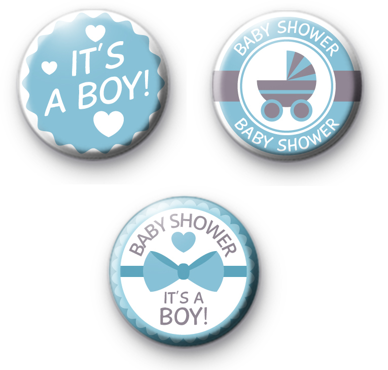 Set of 3 Baby Shower Blue Badges