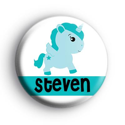 Custom Blue Unicorn Name Badge