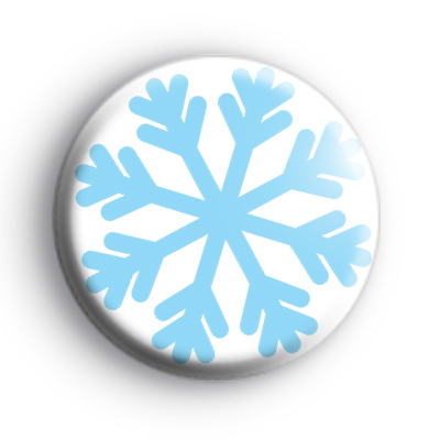 Blue and White Frosty Snowflake Badge