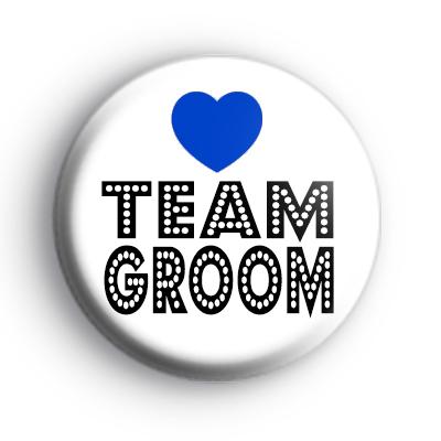 Blue Love Heart Team Groom Badge