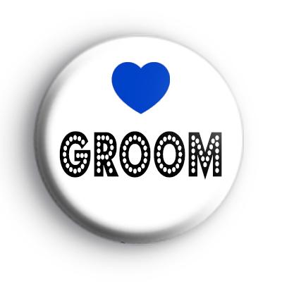 Blue Love Heart Groom Badge