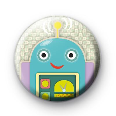Cute Blue Robot Pin Badge