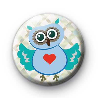 Cute Blue Wise Owl Badge