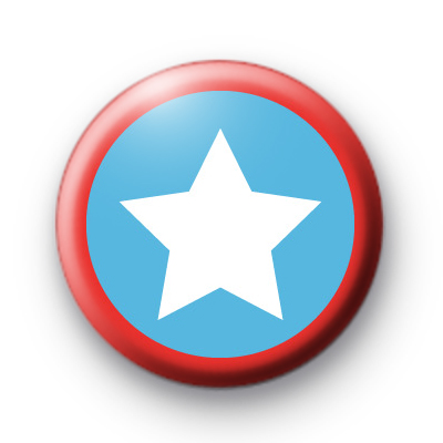 Blue and Red Superhero Shield Badge