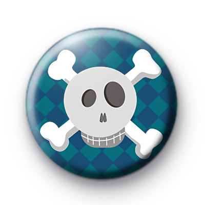 Cool Blue Skull and Crossbones Badge