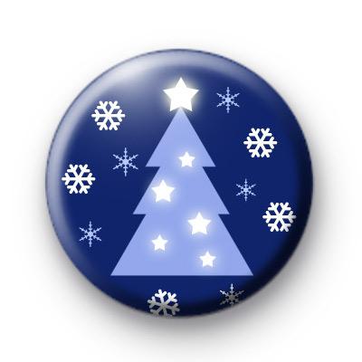 Festive Blue Xmas Tree Badges