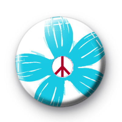 Blue Floral Peace Button Badges