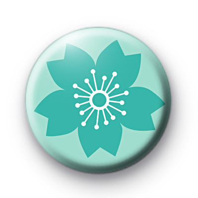 Oriental Blue Floral Badge