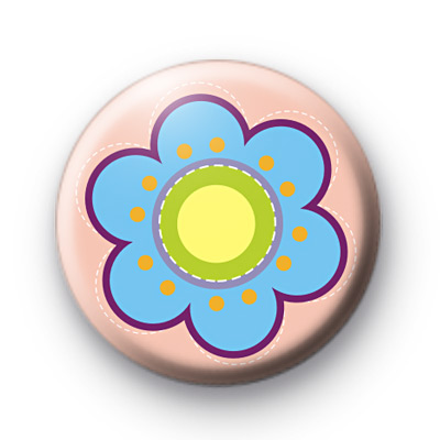 Cute Blue Flower Button Badges