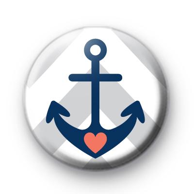 Love Heart Anchor Pin Button Badge