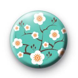Blue Oriental Flower Blossom Badges