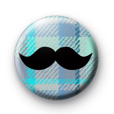 Blue Pattern Movember Moustache badge