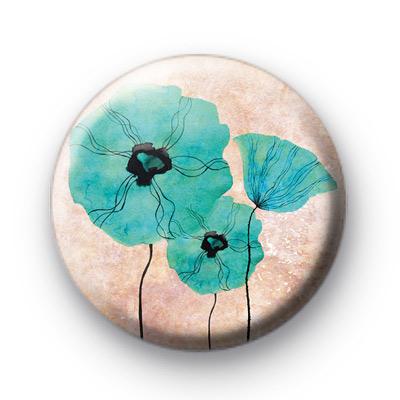 Blue Poppy Flower Badges