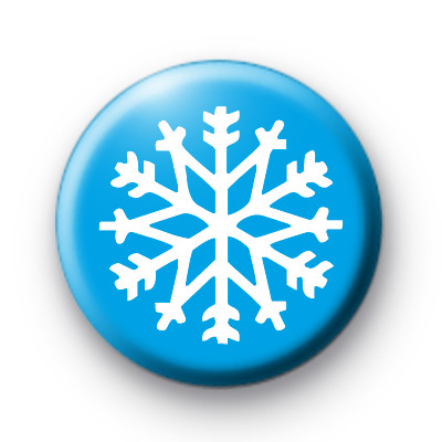 Blue Frosty Snowflake Button Badges