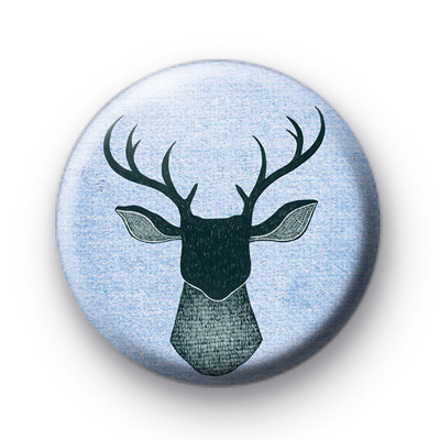 Blue Stag Head Button Badges