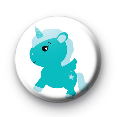 Blue Unicorn Button Badges