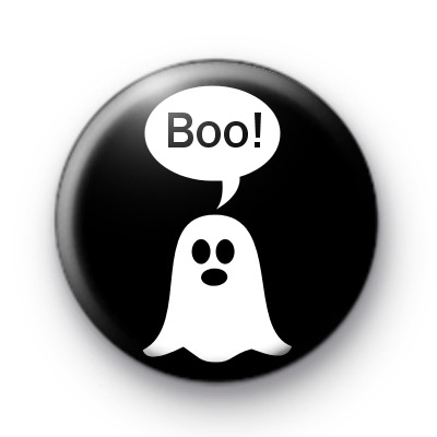 Spooky White Ghost Boo Badge