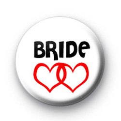 Red Love Hearts Bride Button Badges