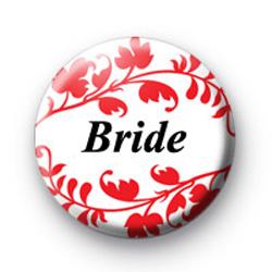 Red Floral Pattern Bride Badge