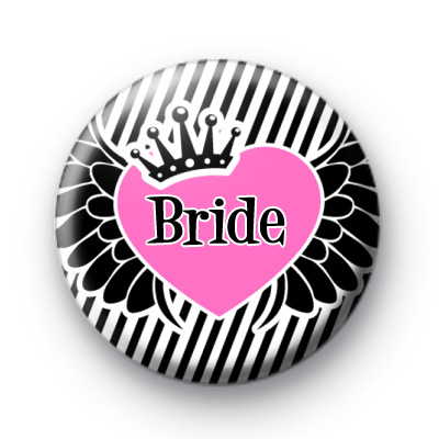 Bride Winged Heart Button Badges