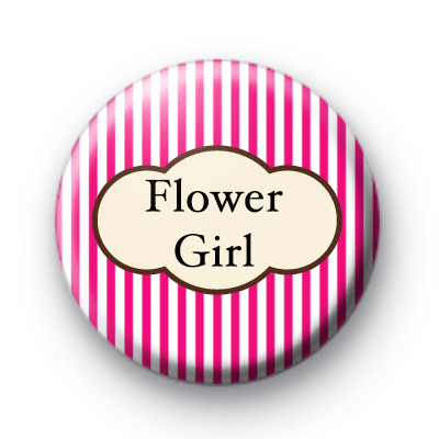 Bright Pink Stripey Flower Girl Bride badge