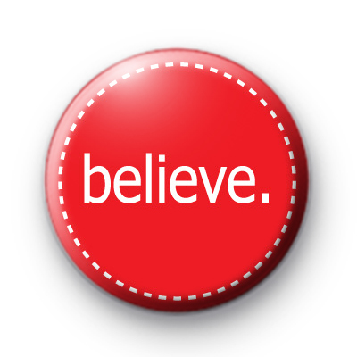 Bright Red Festive Believe Badge