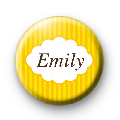 Bright Yellow Stripey Personalised Name Badge