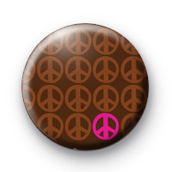Brown Pink Peace Pattern badge