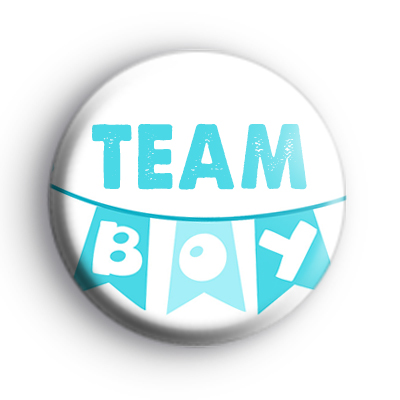 Bunting Team Boy Baby Shower Badge
