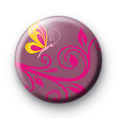 Butterfly and Pink Flowers Badge