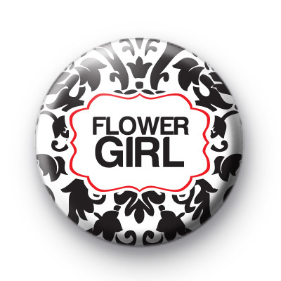 Black and Red Flower Girl Badge