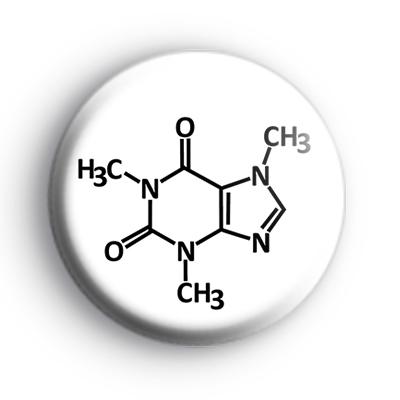 Caffeine Molecule Button Badge