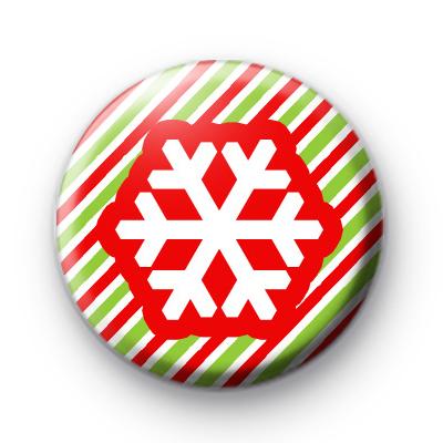 Candy Cane Stripe Snowflake Badge