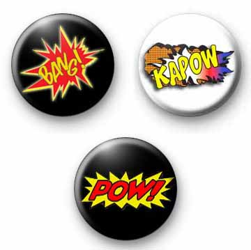 Cartoon Badges set of 3